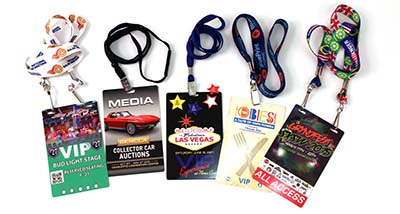 assorted credentials for sports, corporate, music and entertainment badges